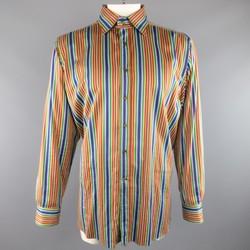 ETRO Size XXL Multi-Color Rainbow Sarape Stripe Cotton Spread Collar Shirt