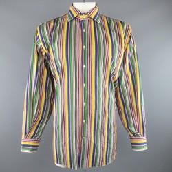 ETRO Size XXL Multi-Color Rainbow Stripe Cotton Spread Collar Long Sleeve Shirt