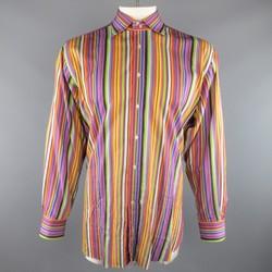 ETRO Size XXL Multi-Color Rainbow Stripe Spread Collar Cotton Long Sleeve Shirt