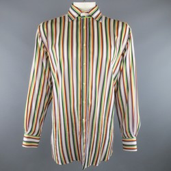 ETRO Size XXL Multi-Color Sarape Stripe Cotton Spread Collar Long Sleeve Shirt