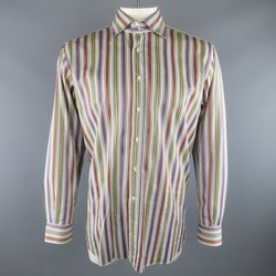 ETRO Size XXL Multi-Color Stripe Cotton Spread Collar Long Sleeve Shirt