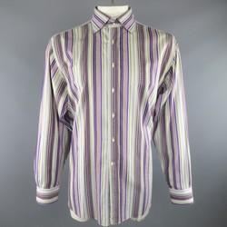 ETRO Size XXL Multi Tonal Purple Stripe Cotton Spread Collar Long Sleeve Shirt
