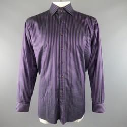 ETRO Size XXL Purple & Black Stripe Cotton Spread Collar Long Sleeve Shirt