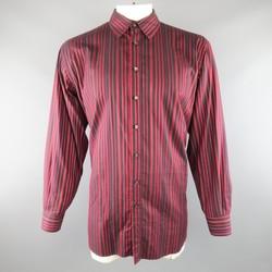ETRO Size XXL Red Burgundy & Black Stripe Cotton Long Sleeve Shirt