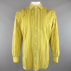 ETRO Size XXL Yellow Stripe Cotton Spread Collar Long Sleeve Shirt
