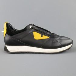 FENDI Size 11 Black & Yellow Leather Monster Runner Spike Back Sneakers