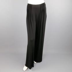 FENDI Size 6 Black Rayon Blend Pleated Front Wide Leg Dress Pants