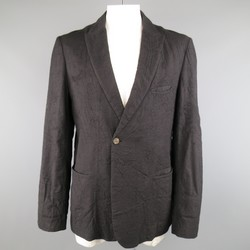 FORME 3'3204322896 42 Black Wrinkle Textured Wool Single Button Sport Coat