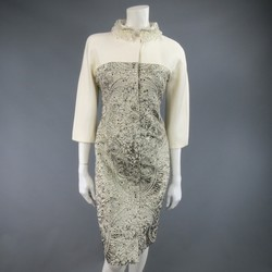 GIAMBATTISTA VALLI COUTURE 6 Cream & Silver Jaquard Beaded Collar Coat Dress