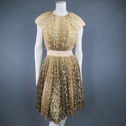 GIAMBATTISTA VALLI COUTURE Size 6 Beige & Brown Leopard Draped Silk Dress