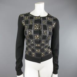 GIAMBATTISTA VALLI Size 6 Black Charcoal Gold Splatter Geometric Wool Cardigan
