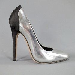 GIAMBATTISTA VALLI Size 7 Metallic Silver Leather & Black Satin Pumps
