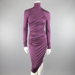 GIAMBATTISTA VALLI Size XS Violet Purple Draped Turtleneck Bodycon Midi Dress
