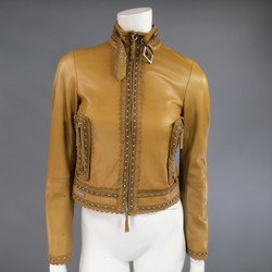 GIANFRANCO FERRE Size 2 Beige Studded Lace Trim Leather Motorcycle Jacket