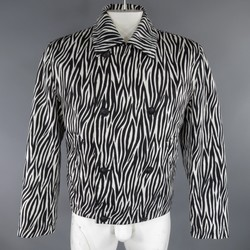 GIANNI VERSACE 40 Black & White Zebra Print Cropped Double Breasted Jacket