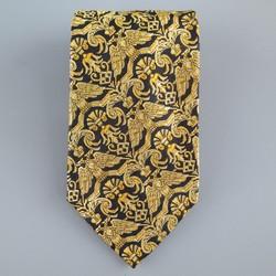 GIANNI VERSACE Gold & Black Eagle Brocade Print Silk Tie