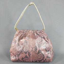 GIANNI VERSACE Metallic Pink Python Gold Leather Knot Handle Bag