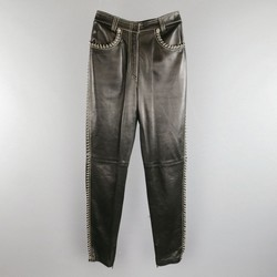 GIANNI VERSACE Size 2 Black & Silver Contrast Stitch Leather Chain Piping Jeans