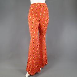 GIANNI VERSACE Size 8 Orange Floral Print Silk Blend Bell Bottom Dress Pants