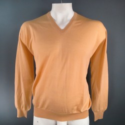 GIANNI VERSACE Size XL Peach Nude Wool V Neck Pullover Sweater