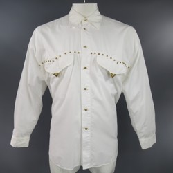 GIANNI VERSACE Size XL White Cotton Gold Studded Western Long Sleeve Shirt