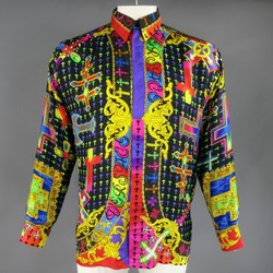 GIANNI VERSACE Size XS Multi-Color Silk Mardi Gras Crucifix Cross Shirt