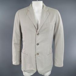 GIORGIO ARMANI 42 Regular Taupe Gray Striped Searsucker Sport Coat