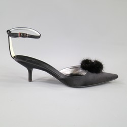 GIUSEPPE ZANOTTI Size 10 Black Satin Fur & Crystal Pointed Ankle Strap Pumps