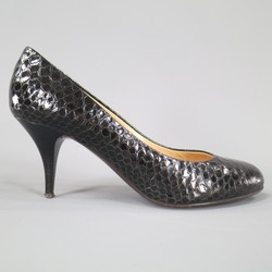GIUSEPPE ZANOTTI Size 7 Black Python Textured Leather Pumps