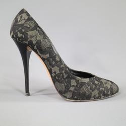GIUSEPPE ZANOTTI Size 7.5 Grey Black Lace Pumps