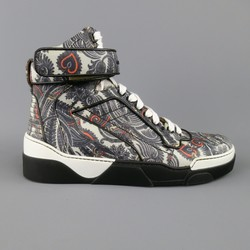 GIVENCHY Size 10 Grey Paisley Butterfly Print Leather Tyson High Top Sneakers