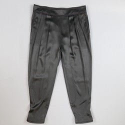 GIVENCHY Size 12 Black Silk Satin Pleated Drop Crotch Pants