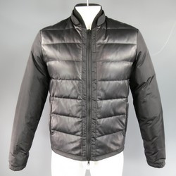 GUCCI 38 Black Leather & Nylon Quilted Down Puffer Jacket