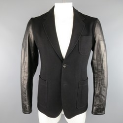GUCCI 40 Black Wol Blend Motorcycle Sleeve Sport Coat
