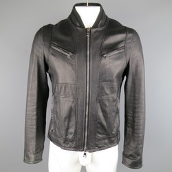 GUCCI 42 Black Leather Fitted Bomber Jacket