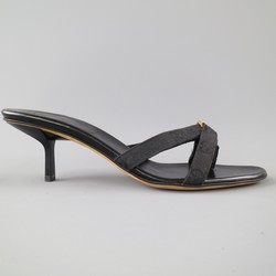 GUCCI 9.5 Black Monogram Canvas & Suede Kitten Heel Sandals