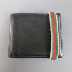 GUCCI Black Leather Striped Band Bifold Wallet