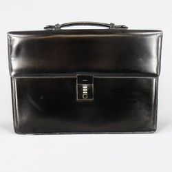 GUCCI Black Leather Top Handle Silver Combination Lock Briefcase