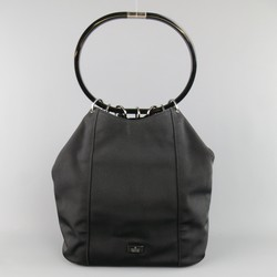 GUCCI Black Nylon Canvas Lucite Oval Hangle Bucket Bag
