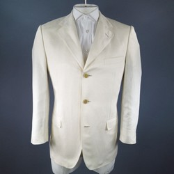 GUCCI Regular Cream Solid Silk / Linen Sport Coat