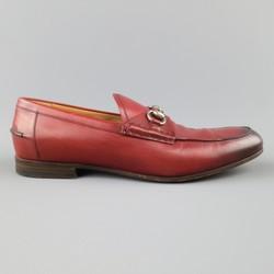GUCCI Size 10 Brick Red Ombre Leather Silver Horsebit Loafers