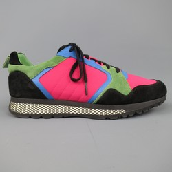 GUCCI Size 10 Neon Pink Green Blue & Black Nylon & Suede Trainer Sneakers
