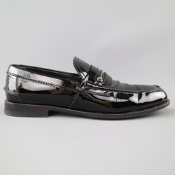 GUCCI Size 10.5 Black Patent Leather Silver Horsebit Loafers