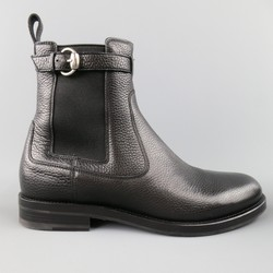 GUCCI Size 10.5 Black Pebbled Leather Royer Ankle Buckle Boots