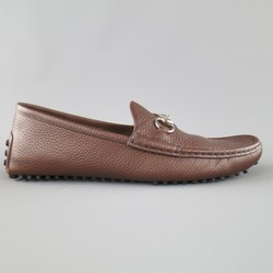 GUCCI Size 10.5 Brown Leather SIlver Horsebit Driver Sole Loafers
