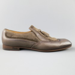 GUCCI Size 10.5 Distressed Taupe & Suede Leather Wingtip Tassel Loafers