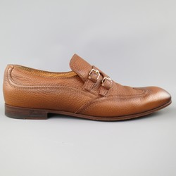 GUCCI Size 10.5 Tan Distressed Pebbled Leather Double Monk Strap Loafers
