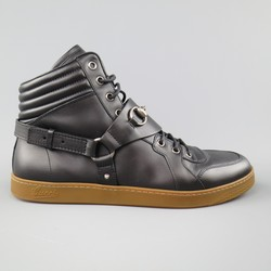 GUCCI Size 11 Black Leather Silver Horsebit Harness High top Sneakers