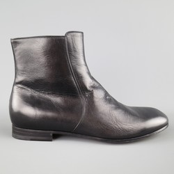 GUCCI Size 12 Black Leather Zip Chelsea Ankle Boots