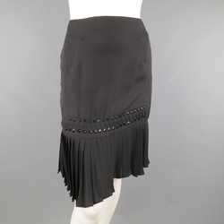 GUCCI Size 2 Black Silk Pleated Hem Beaded Pencil Skirt